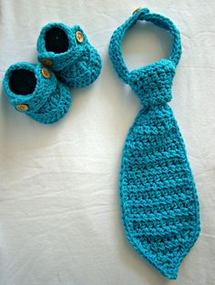 crochet baby boy shoes with matching necktie photography prop