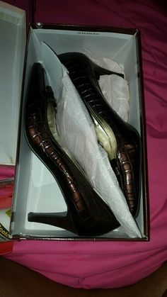 Brown Patent Leather High Heels