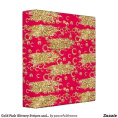Gold Pink Glittery Stripes and Circles Binders