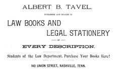 Albert Tavel; 1883 Nashville Business