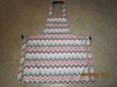 Chevron (black, grey, red and white) (black backing-no pockets) - Adult Sized Apron by ShawnasSpecialties on Etsy