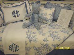 White Pique Pillow with Cape Cod Blue Trim