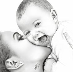 and baby sketch Dope Artz on Mutter und Sohn & # Mother And Baby Paintings, Mother And Child Drawing, Mom Drawing, Mother Art, Drawing For Kids, Drawing Ideas, Drawing Faces, Baby Face Drawing, Children Drawing