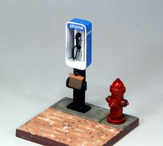 [Public phone and fire hydrant]. 1/25 scale