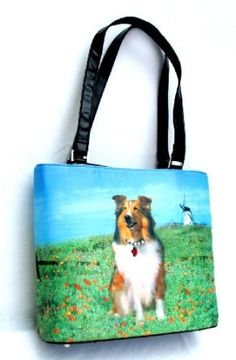 Collie Dog Breed Lovers Themed Large Shoulder Tote Handbag With Rhinestones $14.70