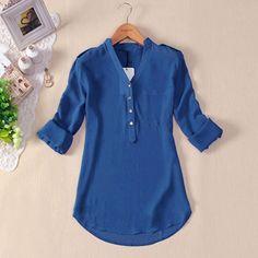 2015 novas mulheres estilo verão Tops Casual Chiffon manga comprida blusa das senhoras da moda sólidos blusa feminina camisas Plus Size S 5XL em Blusas de Roupas e Acessórios no AliExpress.com | Alibaba Group