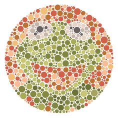 An Ishihara color-blindness test featuring a well known frog. To paraphrase the frog himself - It's not that easy being seen! Color Blindness Test, Color Test, Medical Art, Connect The Dots, Optical Illusions, Easter Crafts, Projects To Try, Illustration Art, Pranks