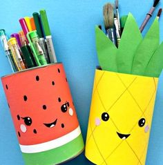 Summer Pencil Holders - this little Melon Pen Pot and Pineapple Pen Pot are super quick and easy to make and look oh so fun. Update your craft area for summer. Love a bit of upcycling for summer. Happy Summer Crafts for Kids! - Crafting Is Joy Diy And Crafts Sewing, Crafts To Make And Sell, Easy Diy Crafts, Jar Crafts, Cute Crafts, Sell Diy, Upcycled Crafts, Fun Diy, Fruit Crafts