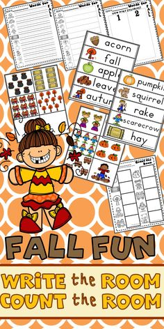 Fall Write the Room & Count the Room activities!  These activities are perfect for autumn writing and counting practice in literacy centers, math centers, or daily 5! Kindergarten teachers and students will love this fall fun activity!