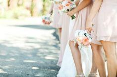 Love the pale peach, flowy dresses.  Flowers are simle, Daisy and peony...peach option.