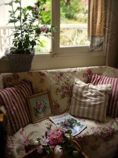 cottage cozy/ the fabrics in this room are so comfortable and I like the way they look together.