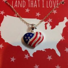 Fine silver plated American Flag pendant NWT Brand new American flag necklace Fine silver plated Jewelry Necklaces