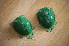 basteln-naturmaterial-schildkröten-walnussschalen-hälften-karton-augen-angemalt
