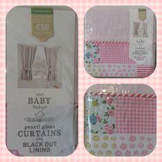 """Next Little Poppet Pink Blackout Curtains & Tie Backs 117x137cm 46x54"""""""