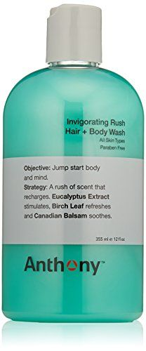 Anthony Invigorating Rush Hair + Body Wash, 12 fl. oz. 2 in 1 formula cleanses and conditions hair and body in one step. Unique alpine wood scent: clean and masculine. Green woodsy scent invigorates body and mind. Perfect all-in-one product to soothe body post-work out. Paraben free.