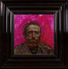 Bearded Man in Pink  - Encre et Acrylique sous Perspex - 53 x 53 cm (hors cadre)