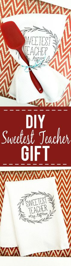 DIY Sweetest Teacher Gift idea - Thank your favorite teacher with this easy, cute, and frugal DIY Sweetest Teacher Gift idea that's simple to make and sure to make her smile! Easy and cheap DIY teacher gift idea Diy Craft Projects, Craft Tutorials, Diy Crafts, Teacher Christmas Gifts, Christmas Mom, Teacher Favorite Things, Best Teacher, Teacher Appreciation Gifts, Teacher Gifts