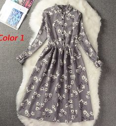 Cheap pleated dress, Buy Quality winter dress directly from China dress women Suppliers: Floral Print Style Slim Cute Stand Collar Single Breasted Pleated Dress Women Vintage Autumn Winter Dress Ladies 9 Options Vestidos Vintage, Vintage Dresses, Vintage Floral, Casual Dresses For Women, Girls Dresses, Clothes For Women, Winter Dresses For Girls, Dresses Dresses, Pleated Dresses