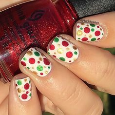 So it's that time of the year again!!!!! It's officially December  so I can post ALL the Christmas manis without driving everyone nuts. I mean my house has only been decorated for an entire month already!!!! Don't worry though I'll ease you in with a Christmas-palette dotticure. If you love Christmas like I do you need to check out my @cutegirlshairstyles post, clickable link in my bio!!!! Polishes used are @chinaglazeofficial White on White, Ruby Pumps, Running in Circles, and Mingle with…