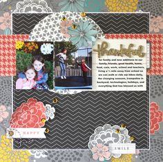 Thankful *Pebbles* - Scrapbook.com - In the fall is the perfect time to document all the random things we are thankful for. Love the fussy cut flowers on this layout too!