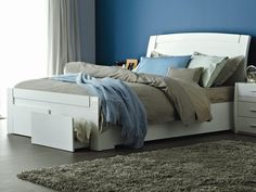 accord queen bed frame with drawers high gloss white 2 pac lacquer - High Queen Bed Frame