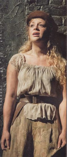 Carrie Hope Fletcher as Eponine, West End Cast.<<<woah, this is weird, I bet she's great, but I have never seen a blond eponine. It threw me for a second. Eponine Les Mis, Les Miserables Costumes, Carrie Hope Fletcher, Musical London, Jamie Campbell Bower, Theatre Costumes, Music Theater, Fashion Project, Brown Pants