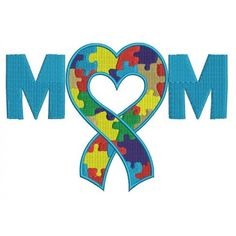 Mom Autism Awareness Ribbon Heart Machine Embroidery Digitized Design Filled Pattern - Instant Download - 4x4 , 5x7, 6x10 -hoops  #embroidery #machineembroidery #applique #digitized #needlework #sew #patterns  #mom #awareness #ribbon #heart #autism