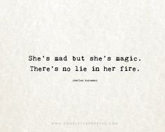 8x10 on A4 - She's Mad But She's Magic (in parchment and black) Charles Bukowski poem quote print.