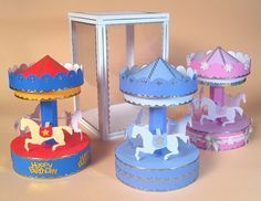 Card Craft / Card Making Templates - Carousel and box. The base of the carousel is a gift box. Great for baby shower or birthday party centerpiece.