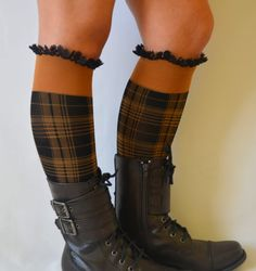 boot socks  mustard  lace boot socks leg warmer girly by bstyle, $20.00