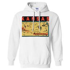 Vintage State Sticker Kansas Sweatshirt Hoodie - California Republic Clothes