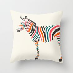 Society 6 Zebra+Throw+Pillow+by+Jazzberry+Blue+-+$20.00 artists work on pillows totes iPhone cases & more. Luvin it
