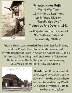 James Bejain, WWII, 1st Infantry Division, Killed in Action, Trained at Fort Devens