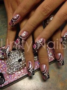 Pink n white nails pinterest french nails manicure and makeup bling it out by jeanyeperez nail art gallery nailartgallery by nails magazine prinsesfo Gallery