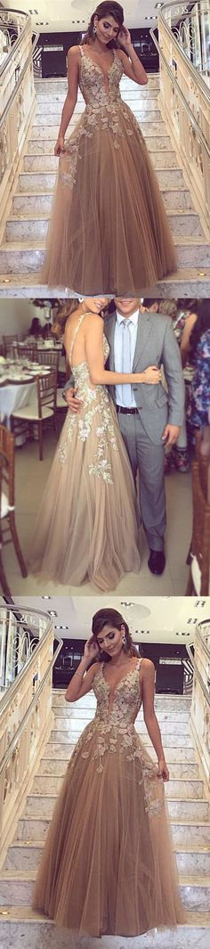 Elegant V Neck Prom Dress, Champagne Long Party Dress, A Line Tulle Evening Dress 51570 #RosyProm #fashionpromdress #charmingpromgown #longpartydress #simpleeveningdress #Vneckpromdress #champagnepromgown