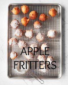 Apple Fritters | Martha Stewart Living - Best served warm, these fragrant, golden morsels are by turns tender, crisp, and fruity. A simpler (no-yeast) alternative to sufganiyot -- the traditional jam-filled Jewish doughnut served during Hanukkah -- the fritters are studded with diced sweet apples and generously dusted with confectioners' sugar. Be forewarned: They can be addictively delicious. Martha made this recipe on Martha Bakes episode 602.
