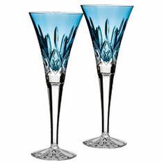 Waterford Lismore Jewels Toasting Flute, Set of 2 - Aquamarine