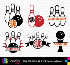 BOWLING SVG files, Silhouette, Die Cut, Vinyl Cutter, Monogram, Screen Printing SS-031