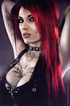 Goth:  Tattooed fetish Goth girl. #gothic #women #beauty/《Dark Beauty 》 ☆ DM ☆