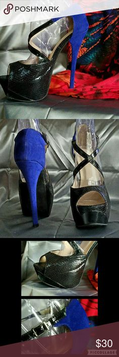 """💥JUST REDUCED💥 LILIANA Blue & Black Heels!!! OH MY!  These ELECTRIC BLUE and BLACK Heels are absolutely STUNNING!!  They have been """"gently loved"""" - worn once.  They have a 6"""" Heel with a 2"""" front Platform which feels more like a 4"""" heel when you're wearing them. If you want ALL eyes on YOU....you MUST GRAB these!!! Liliana Shoes Heels"""