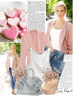 """jeans, pink and white"" by shinystar ❤ liked on Polyvore"