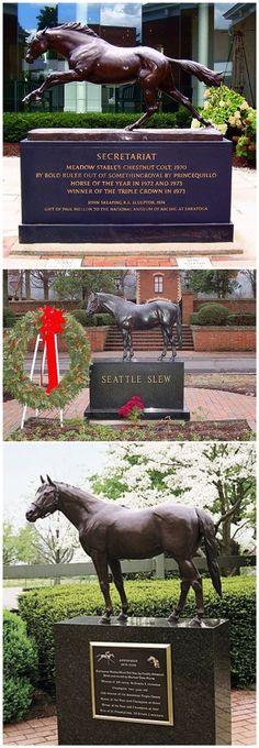 Statues of Triple Crown Winners: 1973 Secretariat, 1977 Seattle Slew and 1978 Affirmed.