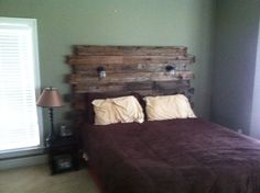 Rustic Barnwood headboard with reading lights by Hammernheel, $600.00 or make it yourself for about 20 bucks