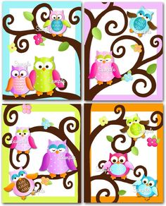 Set of 4 Fun Owl on a Limb Girls Bedroom 8x10 Art Prints. $20.00, via Etsy.