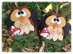 Gufi autunno 2013 : presina e manopola gufo e funghi