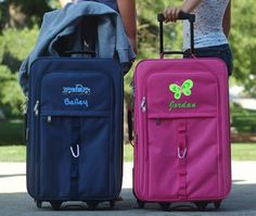 Large 4 Wheel Spinner Kids Luggage in blue and pink featuring rolling carry-on with free personalization for boys and girls.Kids Luggage in blue and pink featuring rolling carry-on with free personalization for boys and girls. Kids Rolling Luggage, Kids Luggage Sets, Childrens Luggage, Personalized Luggage, Personalized Products, Monogram Styles, Monogram Initials, Carry On Luggage, Jansport Backpack