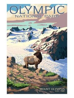 Olympus and Elk - Olympic National Park, Washington Art Print, Wall Decor Travel Poster) National Park Posters, National Parks, Party Vintage, Vintage Ads, Vintage Signs, Washington Art, Spring Landscape, Winter Scenery, Stock Art