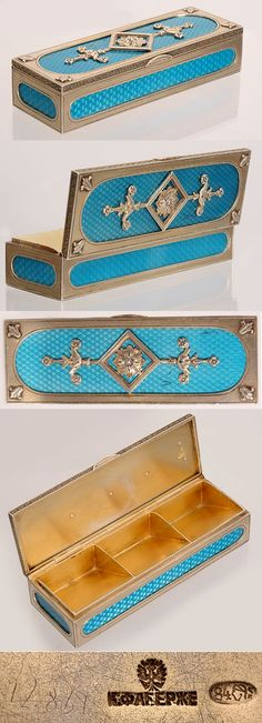 A Faberge Silver and Translucent Turquoise Blue Guilloche Enamel Stamp Box, made in Moscow, circa 1896-1908. The interior divided into three compartments for different denominations of stamps.