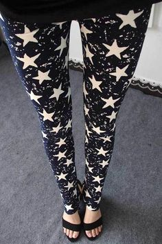 Stars Graffiti Slim Skinny Leggings Pants