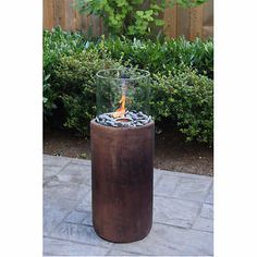 Paramount Tall Cylinder Concrete Fire Column in Antique Bronze Finish